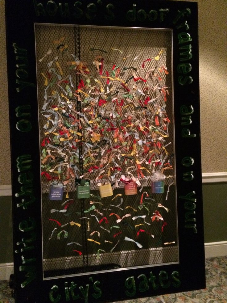 Prayer ribbon wall after praying for it and wearing it place it on wall when done and grab another