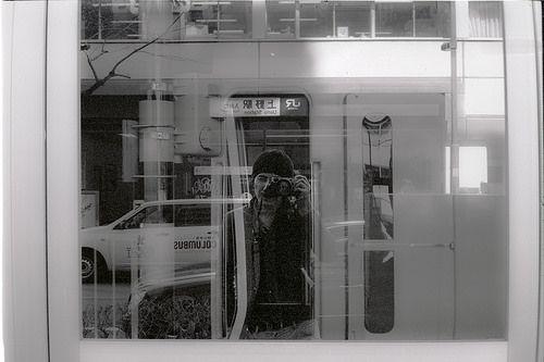 "Self-Portrait with Leica M6 ""Ueno Tokyo""  Shot on the Leica M6 with a Canon 50mm f/0.95. Kodak TRI-X b&w film push processing +2   akihirohamada.blogspot.jp/"