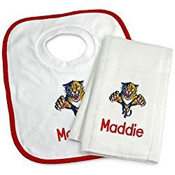 Designs by Chad and Jake Baby Personalized Florida Panthers Bib and Burp Cloth Set One Size White
