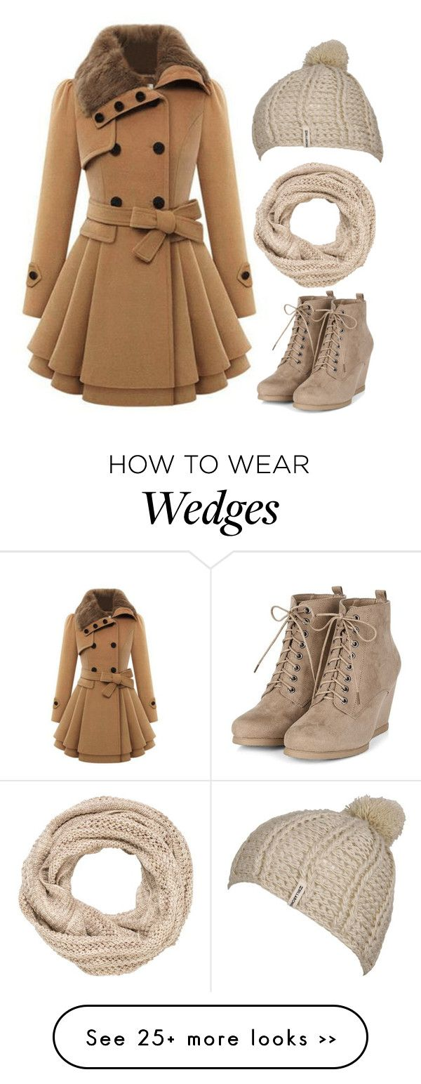 Beautiful camel skater skirt coat, wedge ankle boots, knitted cream scarf and hat. Would be amazing for winter strolls through Central Park, outdoor ice skating.