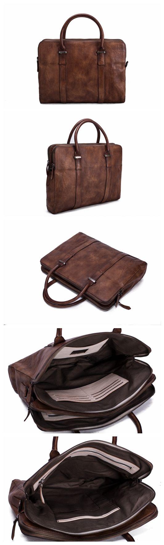 Vintage Vegetable Tanned Leather Briefcase, Men Messenger Bag, Laptop Bag