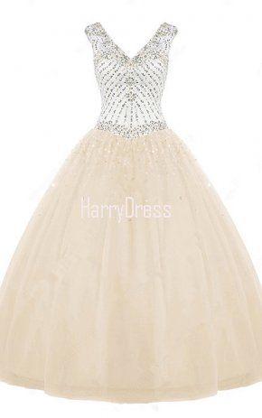 Nude Ball Gown V Neck Tulle Floor Length Beading Long Prom Dress