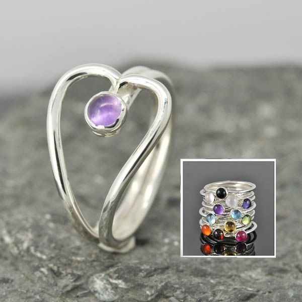 Heart Birthstone ring, heart ring, gemstone ring, sterling silver ring, bezel birthstone ring, mother daughter, sisters, Bridesmaid gift by JubileJewel on Etsy