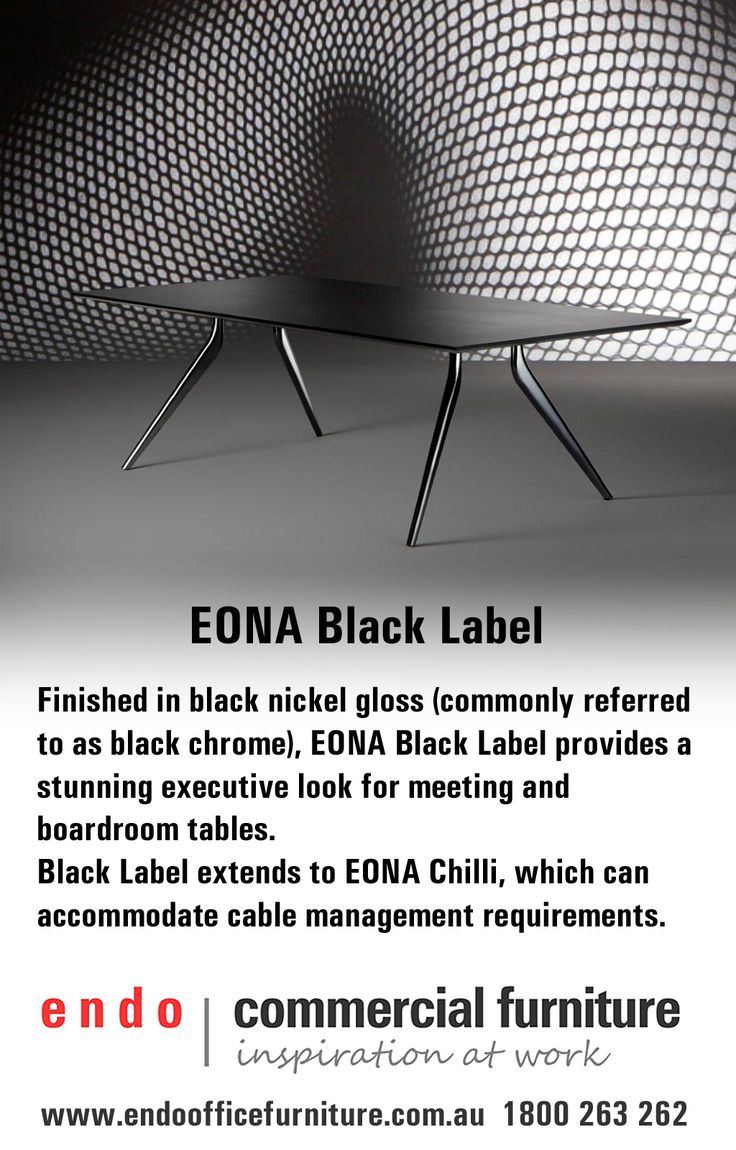 EONA Black Label boardroom table.  Finished in black nickel gloss (commonly referred to as black chrome).  EONA Black Label provides a stunning executive look for meeting an boardroom tables.   http://www.endoofficefurniture.com.au/products/office-tables/boardroom-and-meeting/eona-boardroom-rectangular-table