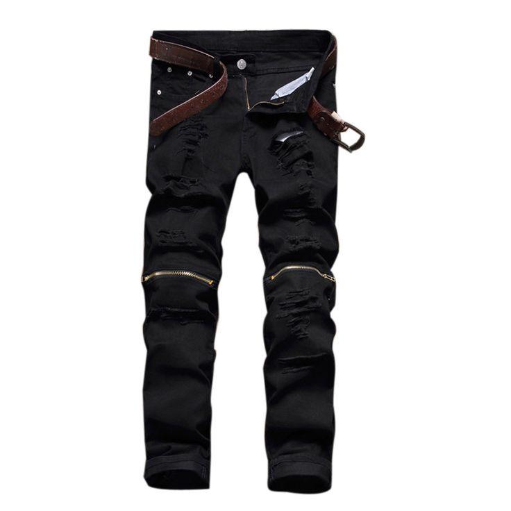 Biker jeans skinny jeans men Fashion Destroyed Ripped Straight-Leg Jeans denim hiphop pants Washed black jeans for men DM#6