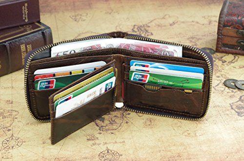 e9d680abf3fd Admetus Men's Genuine Leather Short Zip-around Bifold Wallet | Men's ...
