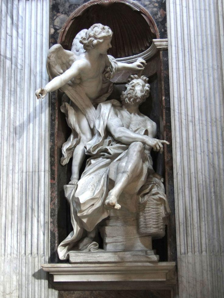 Habacuc y el ángel (1655). Gian Lorenzo Bernini (1598 - 1680). Santa María del Popolo.