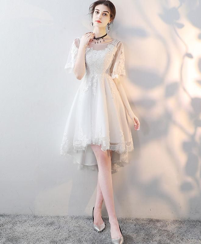 a4e20393b26 Cute round neck tulle lace homecoming dress,white prom dress #prom #dress  #promdress #promdresses