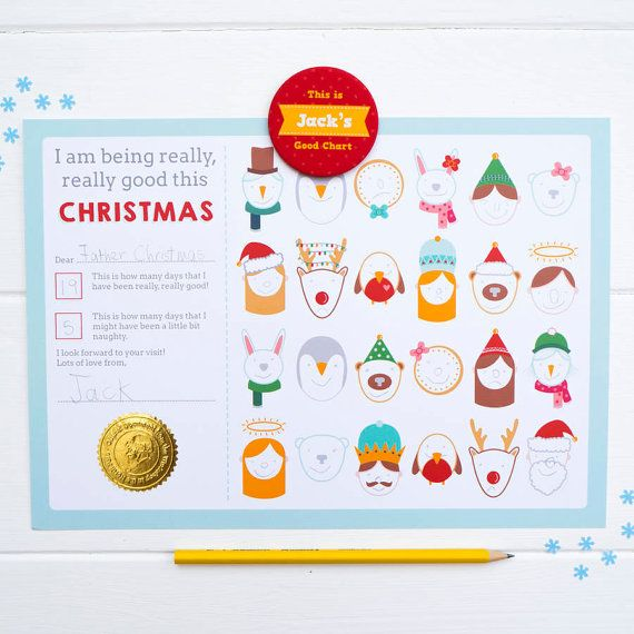 Christmas Behaviour Chart With Personalised Magnet. Alternative Advent Calendar. Advent.