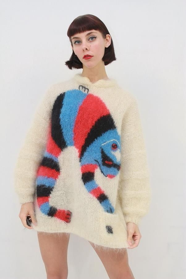 VTG 80's Retro RARE Big ANIMAL Soft Fuzzy MOHAIR Wool Oversize Jumper AUS 12 M