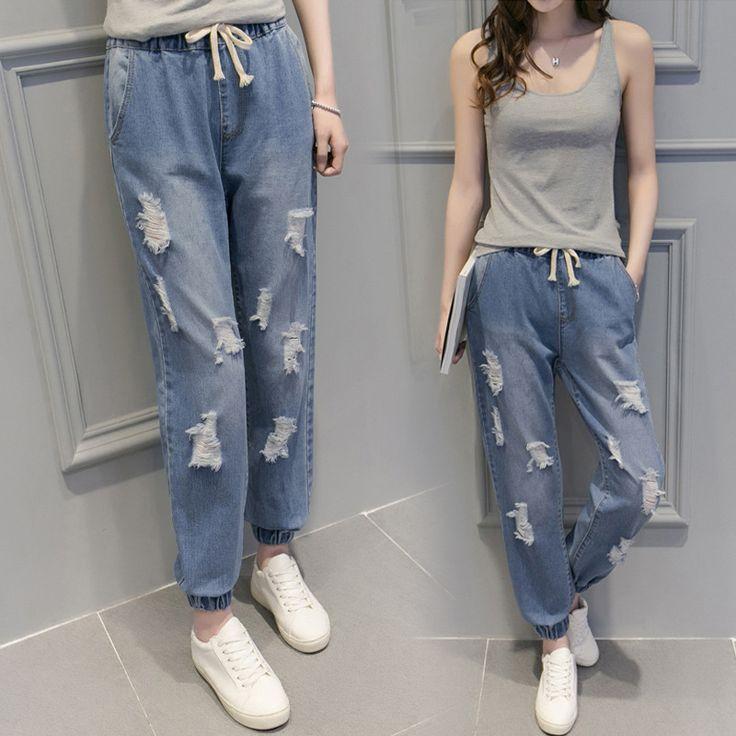 Women fashion wild denim pants Elastic waist jeans female feet harem pants hole female college wind denim trousers S2728