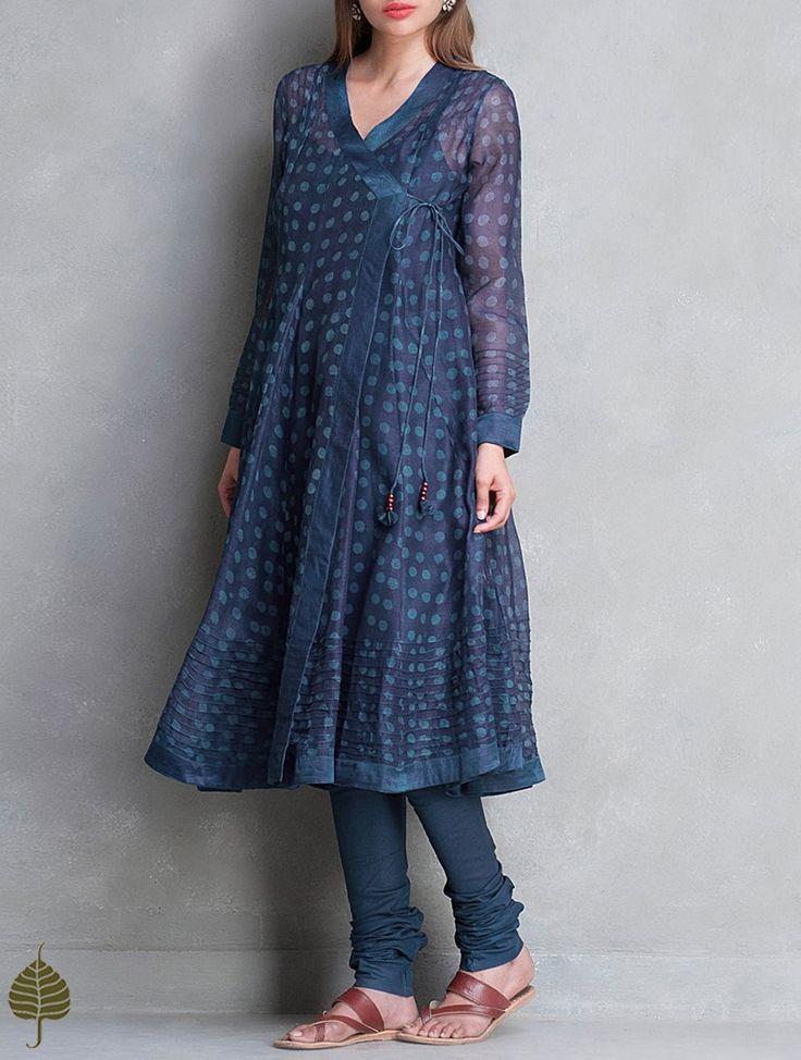 Indigo Elasticated Waist Cotton Churidar with Bagru Printed Natural Dyed Chanderi Kurtas - Jaypore.com