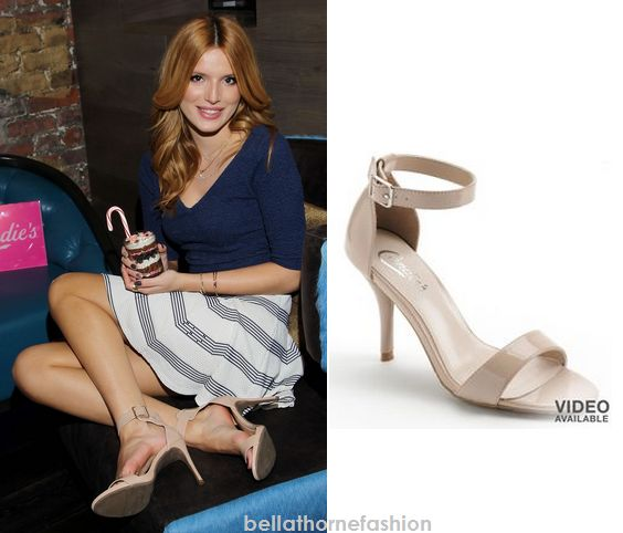 Bella Thorne wears these Kohl's Candie's Nude Strap Shoes at the Candie's Holiday and Resort Collection Launch event at Tender NYC in New York City on November 18th 2014. She also posted a photo on instagram with this outfit. Unfortunately they're unavailable.