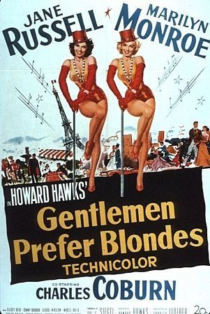 """Loooooove! """"Gentlemen Prefer Blondes"""" Starring Marilyn Monroe and Jane Russell"""
