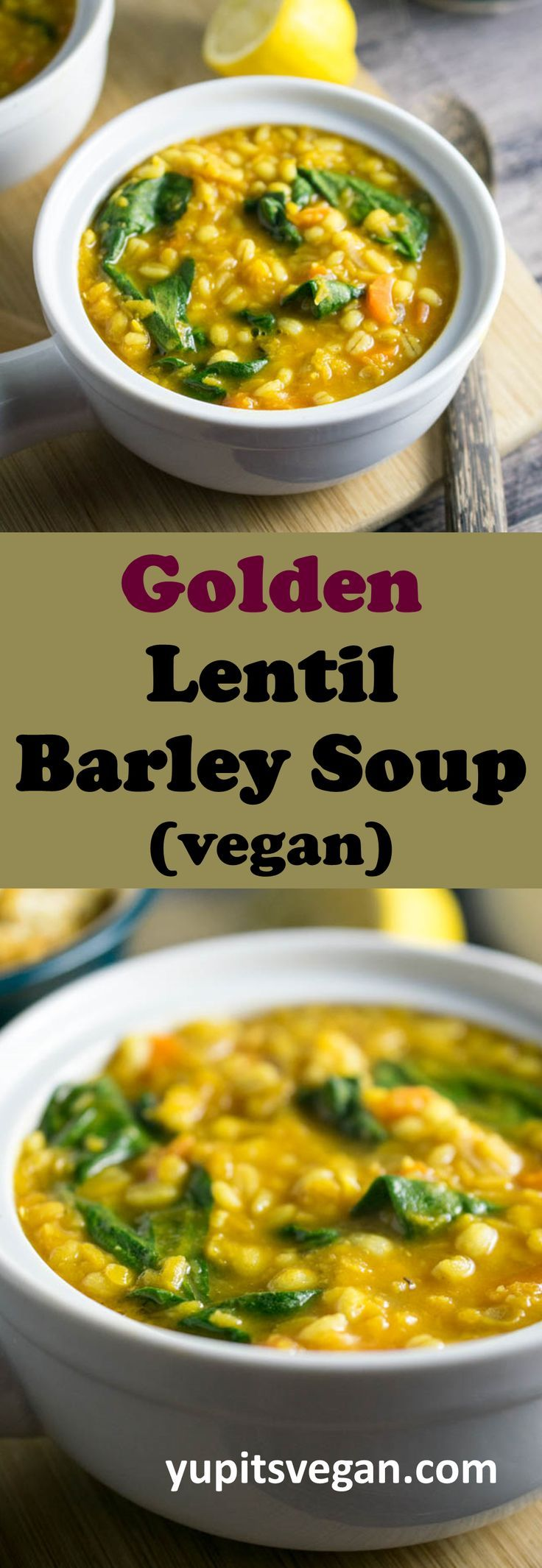 Warming Golden Lentil Barley Soup - the perfect healthy, filling soup to keep you warm! Gently spiced and flavored with bright fresh turmeric. #vegan #soup #lentil #barley #spinach #carrot