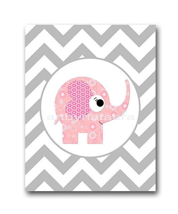 Elephant Nursery Baby Girl Nursery Decor Baby by artbynataera, $14.00