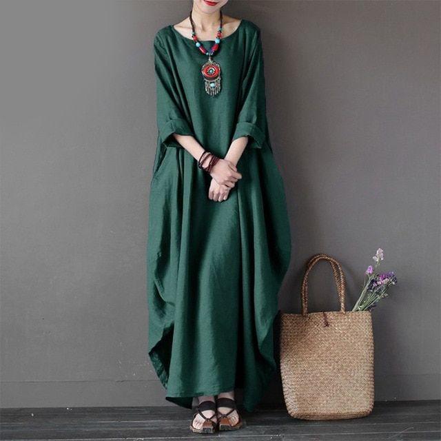 Kaftan womens maxi dress summer o neck long sleeve spring cotton linen gown robe dresses plus size large size dresses 1