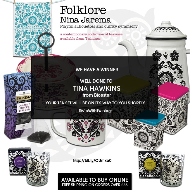 Well done Tina on winning todays prize we hope you love the folklore teaset