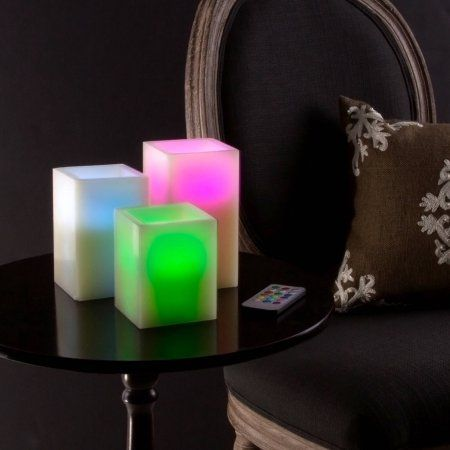 Lavish Home Square Color Changing Flameless Candle with Remote, 3 pc