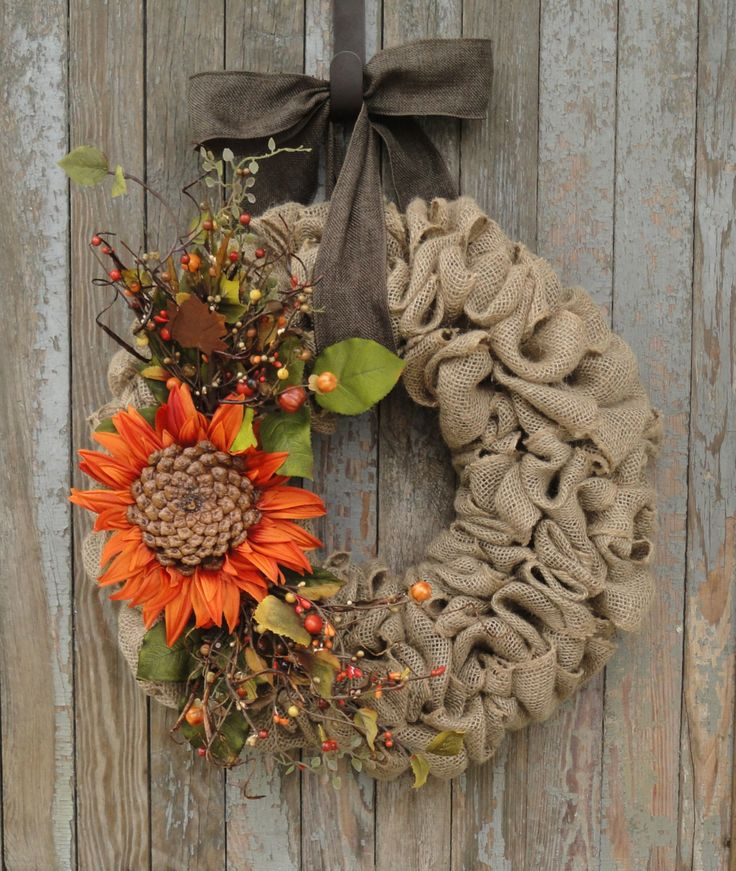 Sunflower Burlap Wreath, Fall Burlap Wreath, Autumn Burlap Wreath, Fall…