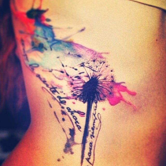 blowball watercolor tattoo