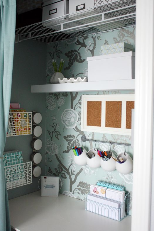 I have a closet just like this in the room that we want to make our office! I'm thinking this is the perfect solution to needing a guest room/office/playroom! IHeart Organizing: IHeart My Home - Home Tour!