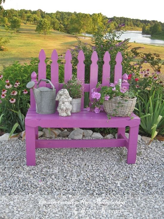 "DIY Picket Fence Garden Bench....You will need the following materials to make this bench: 10 pickets, 8 Pressure treated 2 by 4's, Package of 3"" Deck Screws, Package of 2"" Deck Screws, a quart of exterior paint, and paint brushes."