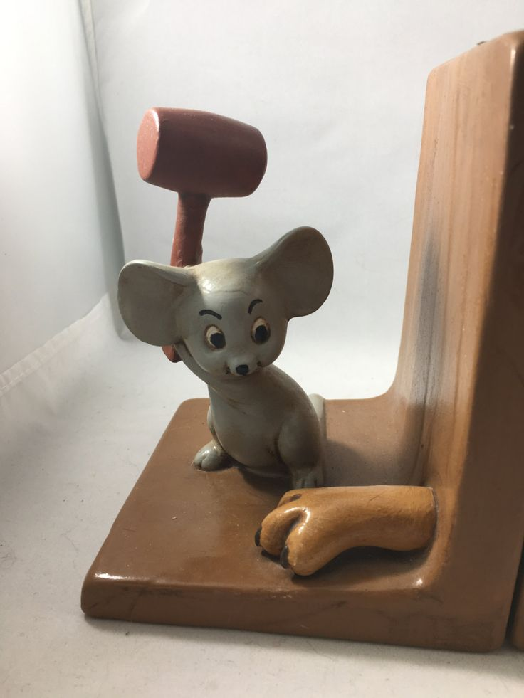 """Vintage Painted Ceramic Cat and Mouse  Dimensions: each bookend is 5.5"""" tall 5.5"""" x 4.5"""" base"""