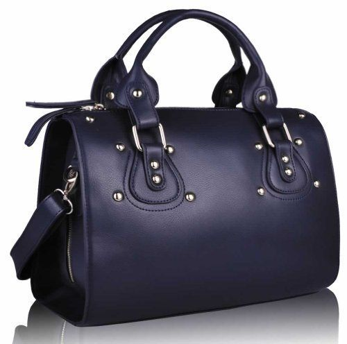Ladies Designer Navy Blue Studded Barrel Tote Fashion Handbag KCMODE KCMODE, To BUY or SEE just CLICK on AMAZON right here http://www.amazon.com/dp/B00GJUOSIA/ref=cm_sw_r_pi_dp_NU0stb0KVSFZQHAP