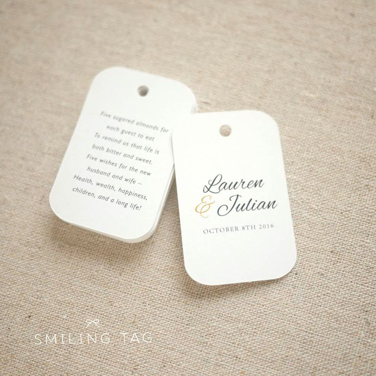 Sugared Almonds Personalized Gift Tags Jordan Almond Favor