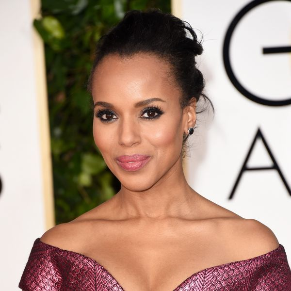 2015 Golden Globes Beauty: The 5 Best Hairstyles | The Zoe Report (Kerry's: Thursday: Use a thin curling wand to create tight curls. Tease hair at the crown and smooth into a high ponytail. Wrap a small section of hair around the base to hide rubber band and pin to secure.)