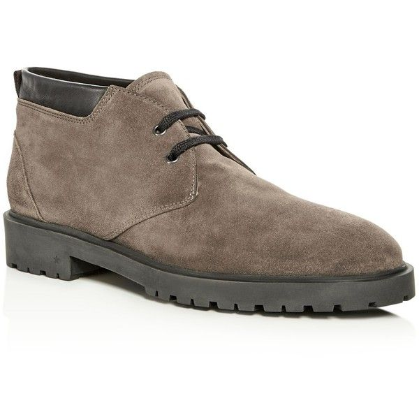 George Brown Men's Jans Suede Chukka Boots ($325) ❤ liked on Polyvore featuring men's fashion, men's shoes, men's boots, mens rubber sole shoes, mens boots, mens shoes chukka boots, mens black boots and mens suede boots