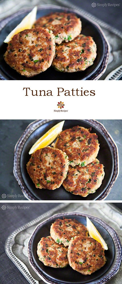 Quick, easy, and budget-friendly tuna patties, made with canned tuna, mustard, lemon, parsley, chives, bread, and hot sauce. ~ SimplyRecipes.com
