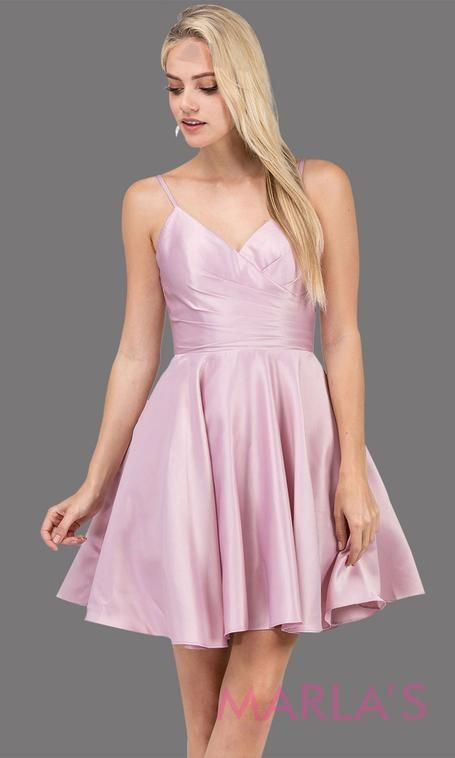 351e2544a0b Short   simple satin flowy dusty pink grade 8 grad dress with pockets    straps.This light pink graduation dress is perfect for quinceanera damas ...