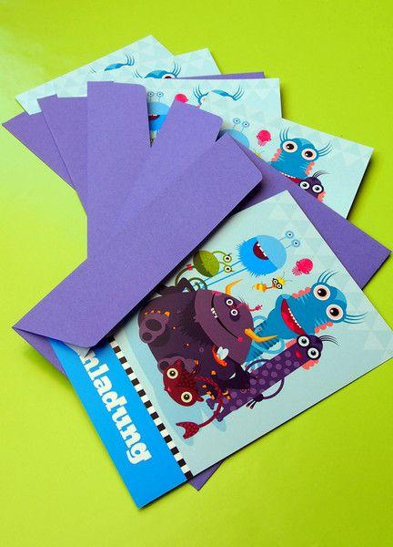 Einladungskarten - Monster-Einladungen (10 Stk.) mit Umschlägen - ein Designerstück von Pia-Kolle bei DaWanda