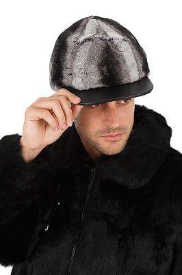 Mens Fur Hat Real Genuine Chinchillette Baseball Cap