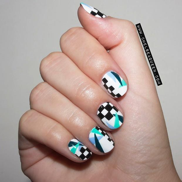 Nail Designs for Short Nails - Cool Nail Design for Short Nails - Instagram / chelseaqueen - Checkered pattern is too simple so why don't add some colorful triangles? This beautiful nail design will take you to the '80's/'90s right away! - Products used: Floss Gloss + Black Holy + Wet + 95% Angel + Essie Go Overboard
