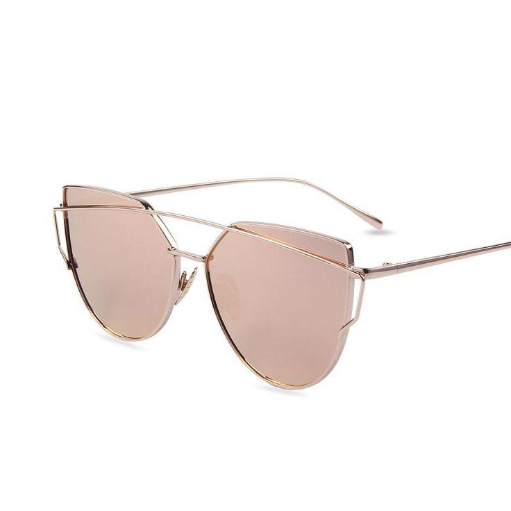 Flat Lense Women Cat Eye Sunglasses Classic Brand Designer Twin-Beams Rose Gold Frame
