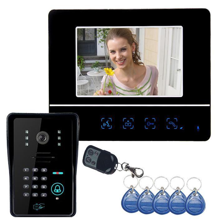 """Filaire deurbel rencontré caméra interphone visiophone 7 """"pouces moniteur placa de vidéo canera avec lecteur de carte RFID"""