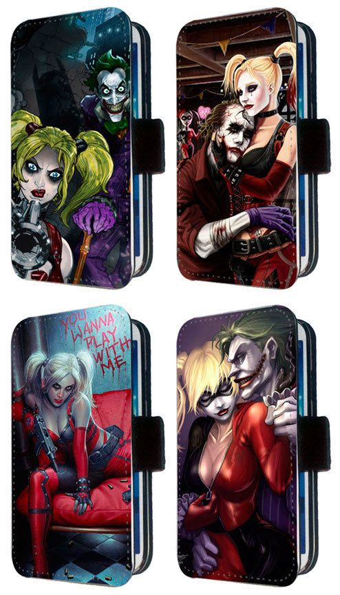 harley quinn goth batman comic joker phone flip case fits iphone samsung sony