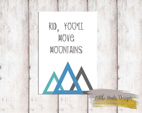 Kid You'll Move Mountains poster printable digital graphic blue aqua black DIY artwork Digital Tribal Boho by LittlePantsDesigns