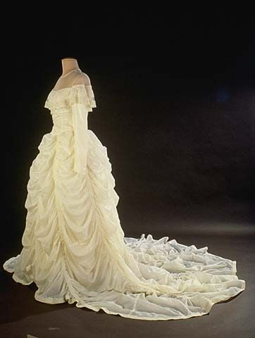 Wedding dress, 1947, made from nylon parachute that saved the groom's life during WWII.