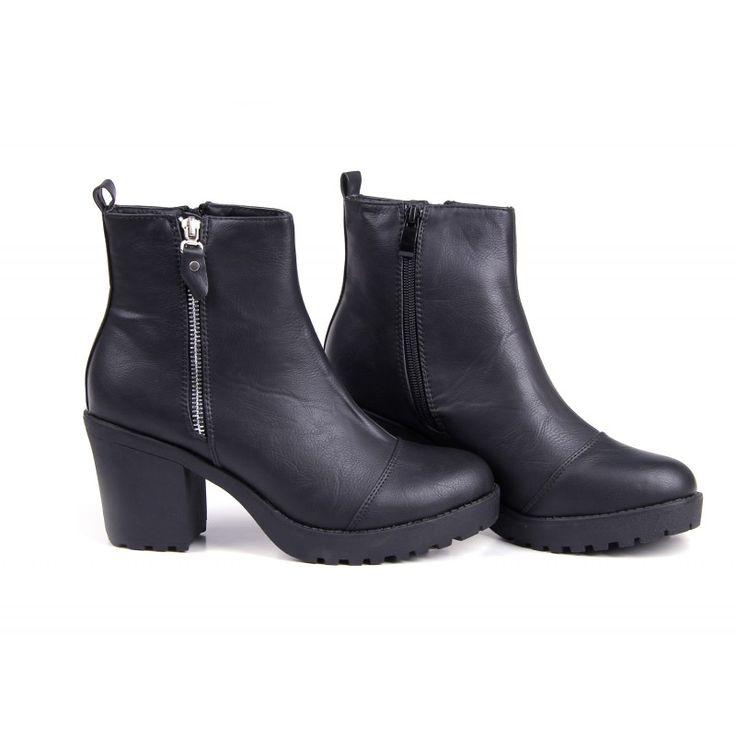 Sorte støvler med høj hæl - T-R-E-N-D