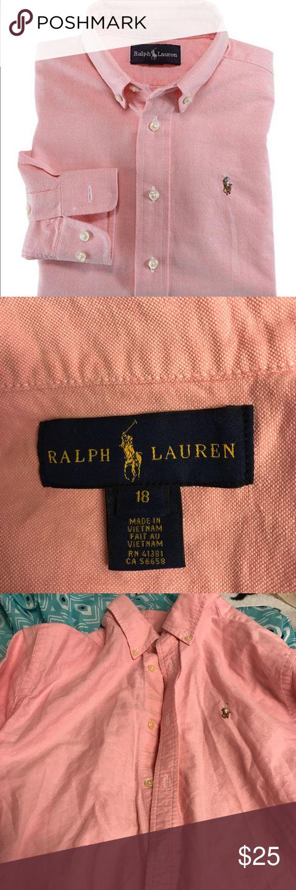 Ralph Lauren Oxford Shirt Pink . Worn Twice . Size 18 Big Boys . Too Big For Me . Ralph Lauren Shirts & Tops Button Down Shirts