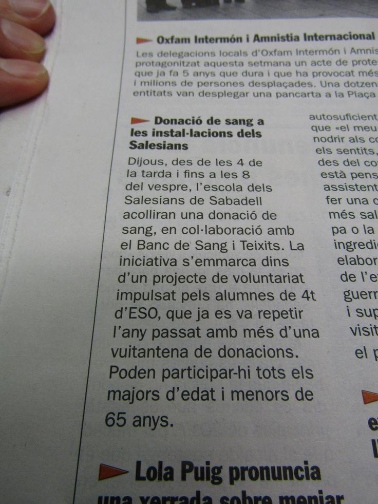 ApS Banc de Sang #Salesians Sabadell. Notícia de la donació de sang a l'escola al Diari de Sabadell