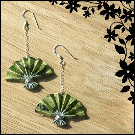 Green Origami Fan Earrings by ~ajesti on deviantART