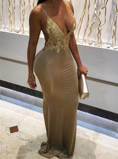 fa3944616f8 Modest Champagne Spaghetti Straps Appliques Prom Dresses in 2019 ...