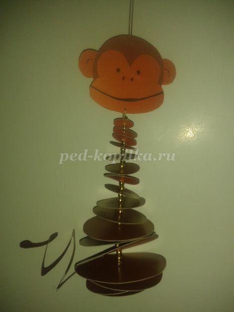 Новогодняя игрушка - обезьянка из цветного картона своими руками. Мастер-класс с пошаговыми фото