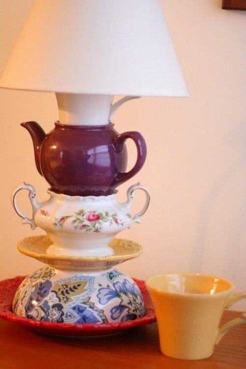 here you can find the step-by-step instructions to do this lamp  http://www.shelterness.com/diy-tableware-tabletop-lamp/