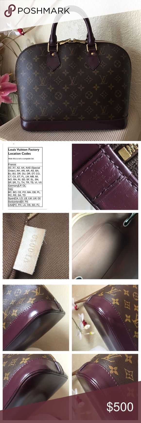 Authentic Louis Vuitton Alma PM. Authentic Louis Vuitton Alma PM ( Vintage ) Leather has been hand painted Burgundy and sealed for protection. In good condition, inside is clean. Just normal signs of use, minor scratches, scuff, rub that are hardly noticeable. Please review photos. (No box, padlock, key, dust bag or receipt) Date Code: VI0010. ❌No Trade Please❌Poshmark offers free item authentication on all items $500 or more via Posh Concierge service. Thank you for stopping by and have a…